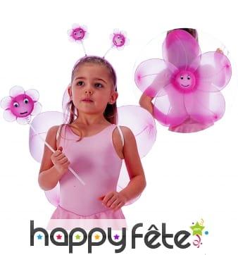 Set fleur pour enfant couleur rose.