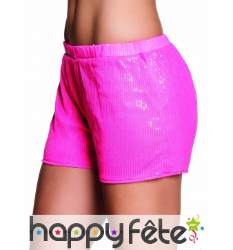 Shorty fluo rose recouvert de sequins