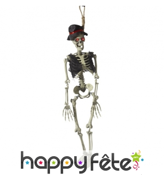Squelette groom à suspendre avec yeux lumineux