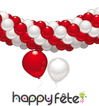 Set guirlande de ballons rouges et blancs