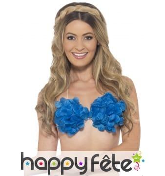 Soutien gorge fleuri bleu Hawaïen