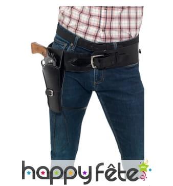 Simple holster noir en simili cuir avec ceinture
