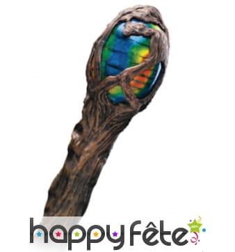 Sceptre imitation bois avec extrémité colorée