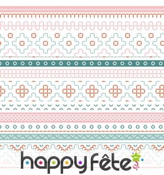 Serviettes imprimé géométrique multicolore