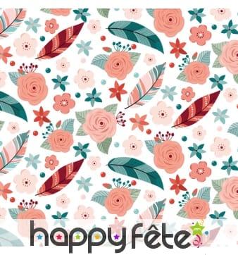 Serviettes imprimé plumes et fleurs colorées