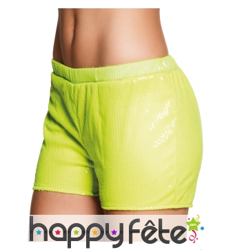 Short jaune fluo à sequins