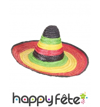 Sombrero multicolore avec pointe du dessus noire