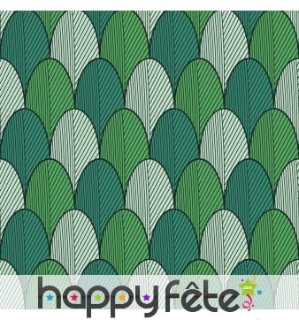Serviette motifs dessins d'écailles vertes
