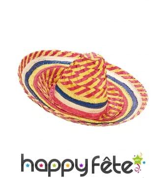 Sombrero multicolore en paille