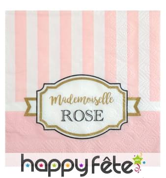 Serviettes Mademoiselle rose