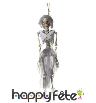 Squelette mariée yeux lumineux à suspendre
