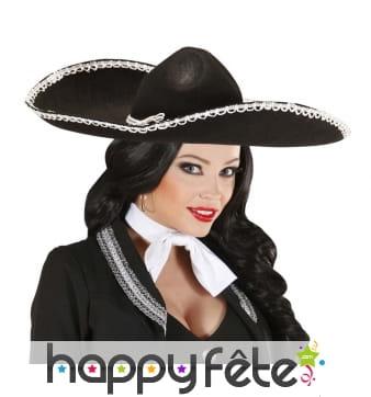 Sombrero noir uni avec liseré blanc