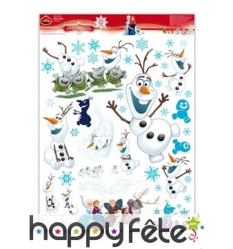 Stickers Olaf électrostatiques, reine des neiges