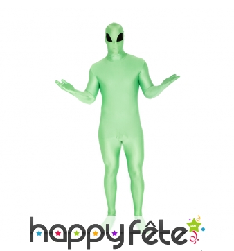 Seconde peau alien vert phosphorescent