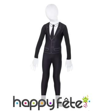 Seconde peau costume trois pièces noir pour enfant