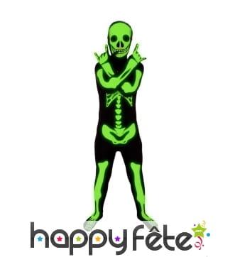 Squelette phosphorescent seconde peau enfant