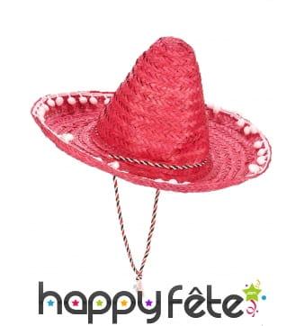 Sombrero rose contours en pompons blancs