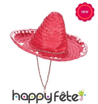Sombrero rouge contours en pompons blancs