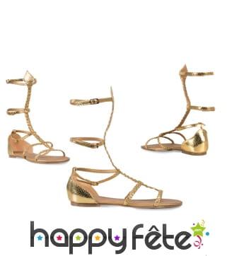 Sandales spartiates dorées