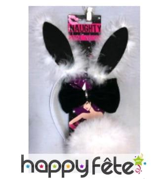 Set sexy de lapin noir et blanc avec froufrous
