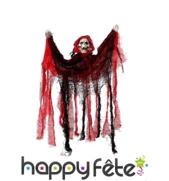 Squelette spectre noir et rouge à suspendre