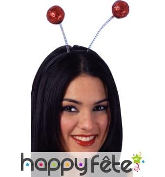 Serre tète antenne boules rouges à paillettes