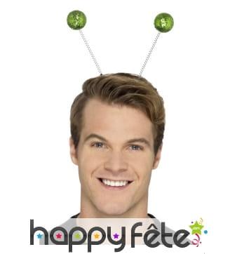 Serre tête antennes boules vertes à paillettes