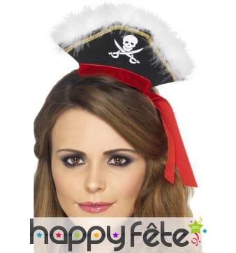 Serre-tête avec mini chapeau pirate