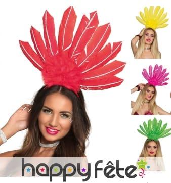 Serre tête coiffe brésilienne avec hautes plumes