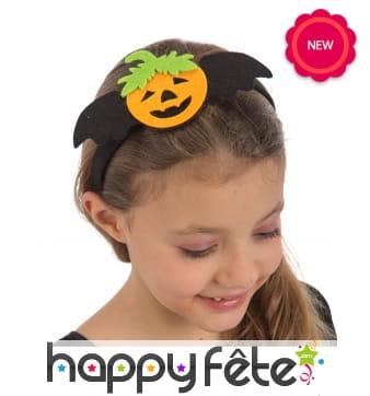 Serre-tête décoré d'une citrouille, pour enfant