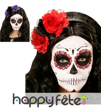 Serre tête Dia de los muertos avec fleurs