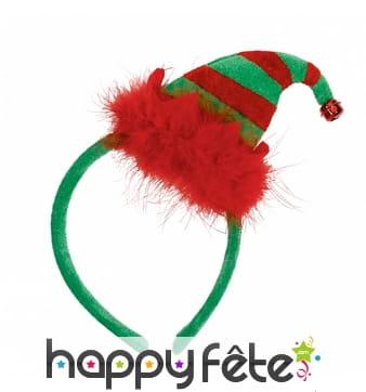 Serre-tête mini bonnet d'elf de Noël