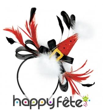 Serre-tête mini chapeau de Noël et plumes