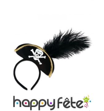 Serre-tête noir avec tricorne de pirate