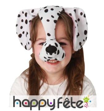 Serre-tête oreilles de dalmatien avec nez, enfant