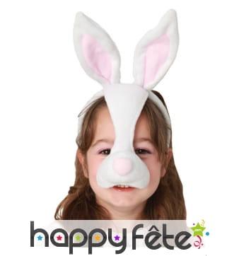 Serre-tête oreilles de lapin avec nez, enfant
