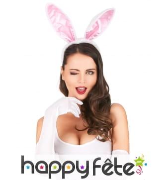 Serre-tête oreilles de lapin blanc