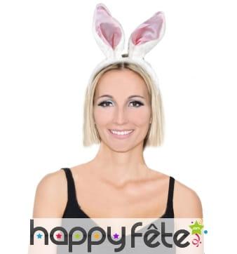 Serre tete oreilles de lapin blanches et rose