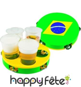 Tambourin à boisson aux couleurs du Brésil