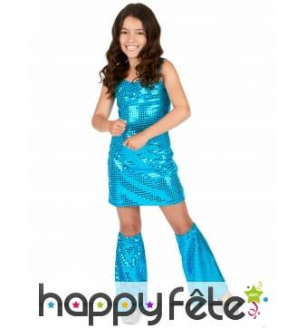 Tenue bleu disco recouverte de sequins pour fille