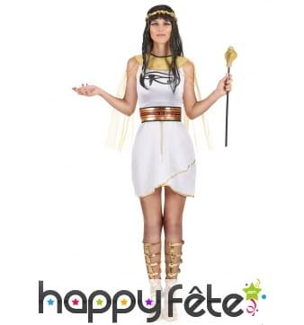 Tenue blanche et or de reine égyptienne