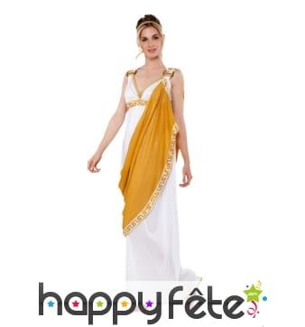 Toge blanche et jaune grecque pour femme