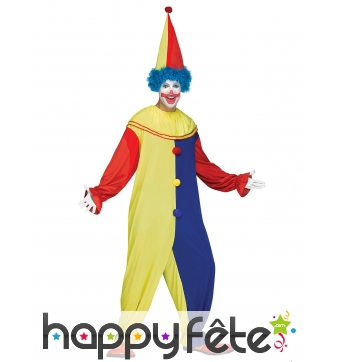 Tenue bicolore jaune bleue de clown adulte
