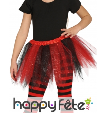 Tutu bicolore tulle noir rouge à paillettes fille
