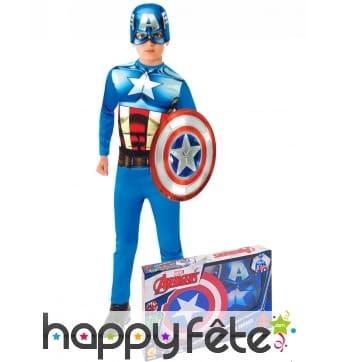 Tenue Captain America et bouclier, coffret enfant