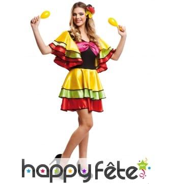 Tenue colorée à volants courte danseuse de samba