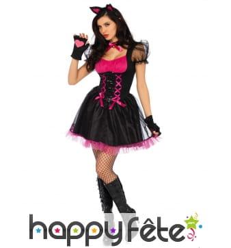 Tenue courte chat rose et noir femme