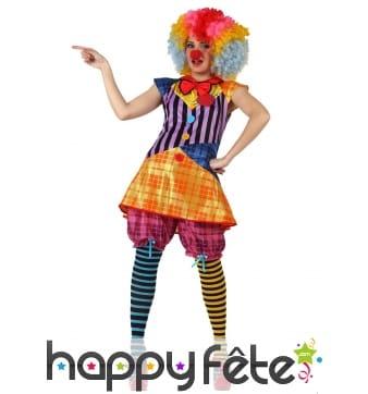 Tenue colorée de femme clown