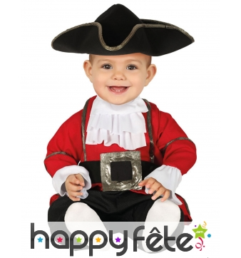 Tenue de bébé pirate rouge