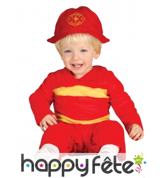 Tenue de bébé pompier rouge